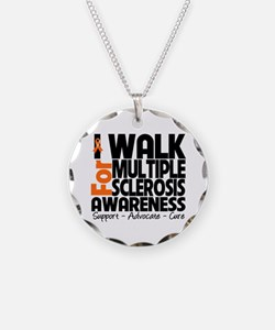 I Walk Multiple Sclerosis Necklace Circle Charm