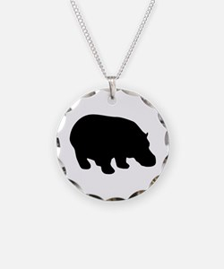 Hippo Necklace Circle Charm