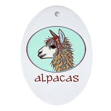 alpaca annie's Oval Ornament