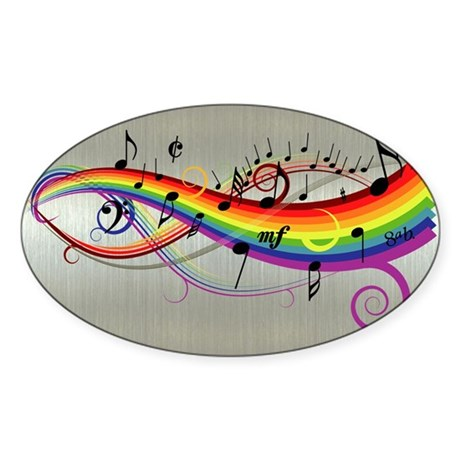Mixed color musical notes 2 Sticker (Oval)