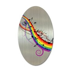 Mixed color musical notes 2 22x14 Oval Wall Peel