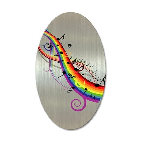 Mixed color musical notes 2 38.5 x 24.5 Oval Wall