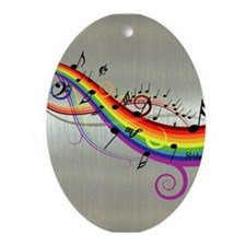 Mixed color musical notes 2 Ornament (Oval)