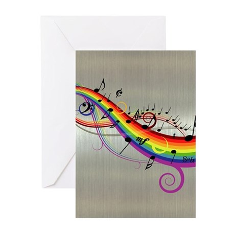 Mixed color musical notes 2 Greeting Cards (Pk of