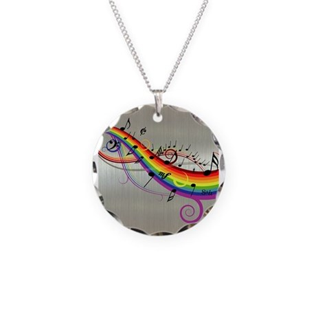 Mixed color musical notes 2 Necklace Circle Charm