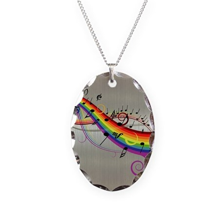Mixed color musical notes 2 Necklace Oval Charm