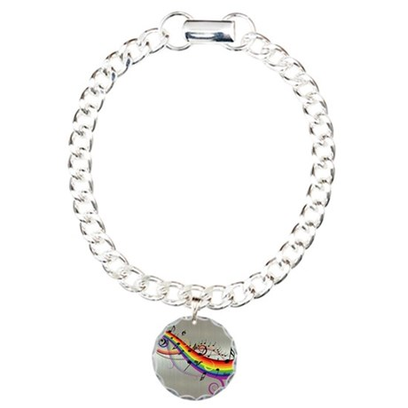 Mixed color musical notes 2 Charm Bracelet, One Ch