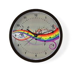 Mixed color musical notes 2 Wall Clock