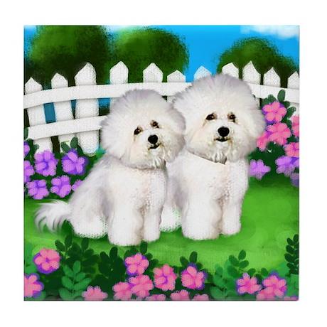 BICHON FRISE DOG GARDEN Tile Coaster