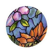 Orange Flower Ornament (Round)