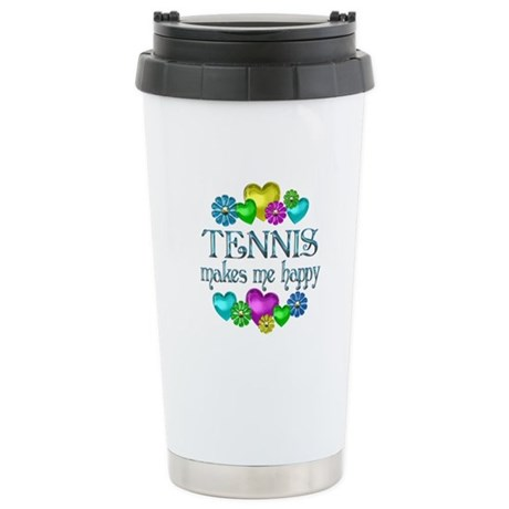 Tennis Happiness Stainless Steel Travel Mug