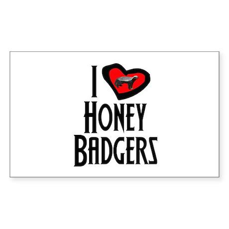 I Love Honey Badgers Sticker (Rectangle)