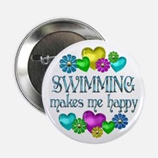 """Swimming Happiness 2.25"""" Button (100 pack)"""