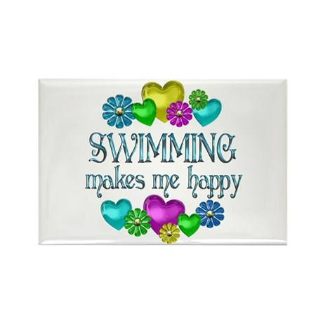 Swimming Happiness Rectangle Magnet (100 pack)