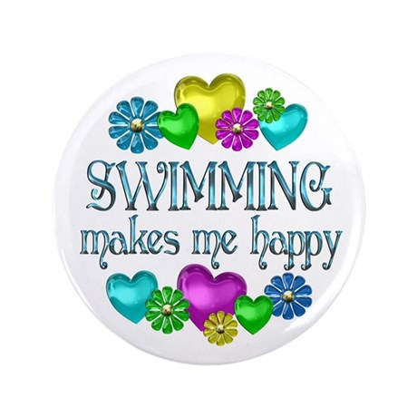 "Swimming Happiness 3.5"" Button"