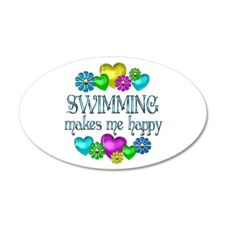 Swimming Happiness 38.5 x 24.5 Oval Wall Peel