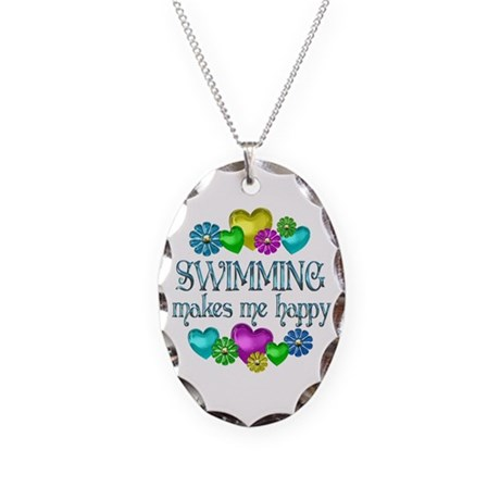 Swimming Happiness Necklace Oval Charm