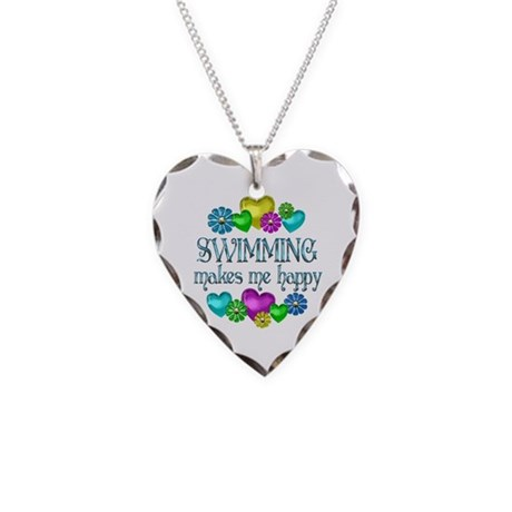 Swimming Happiness Necklace Heart Charm