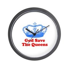 god save the queens (royal bl Wall Clock