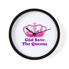 god save the queens (fuchsia/ Wall Clock
