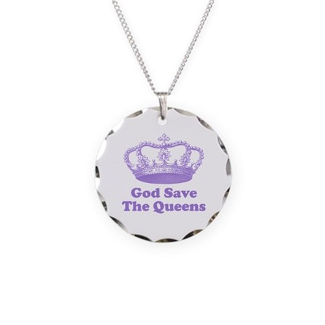 god save the queens (mauve) Necklace Circle Charm