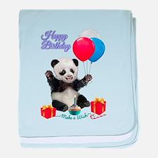 Panda's Happy Birthday Wish baby blanket