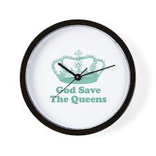 god save the queens (seafoam Wall Clock