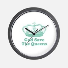 god save the queens (seafoam Wall Clock