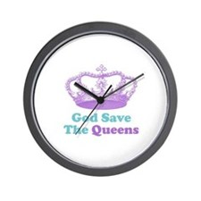 god save the queens (purple/t Wall Clock
