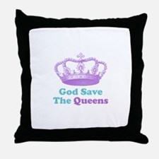 god save the queens (purple/t Throw Pillow