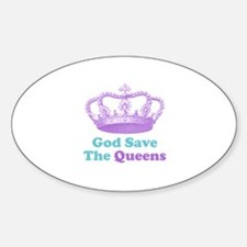 god save the queens (purple/t Sticker (Oval)