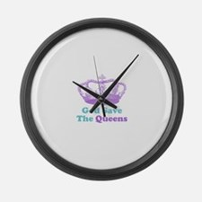 god save the queens (purple/t Large Wall Clock