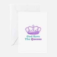 god save the queens (purple/t Greeting Cards (Pk o