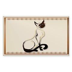 Sitting Siamese Kitty Sticker (Rectangle)