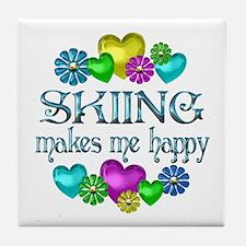 Skiing Happiness Tile Coaster