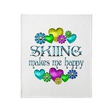Skiing Happiness Throw Blanket