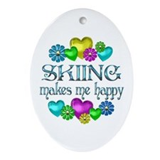 Skiing Happiness Ornament (Oval)