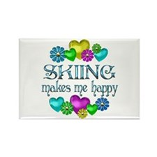 Skiing Happiness Rectangle Magnet
