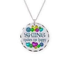 Skiing Happiness Necklace Circle Charm