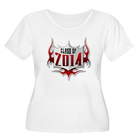 Class of 14 Flames Women's Plus Size Scoop Neck T-