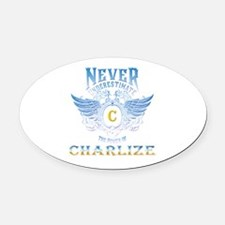 never underestimate the power of c Oval Car Magnet
