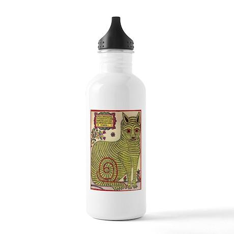 Russian Folk Art Cat Stainless Water Bottle 1.0L