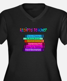 Retired Teacher Women's Plus Size V-Neck Dark T-Sh