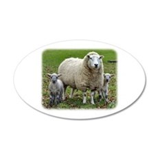Sheep and Lambs 9R12D-35 22x14 Oval Wall Peel