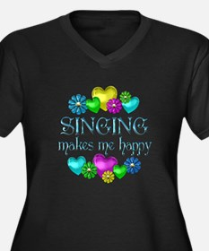 Singing Happiness Women's Plus Size V-Neck Dark T-