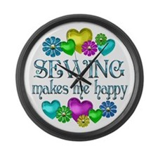 Sewing Happiness Large Wall Clock