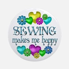 Sewing Happiness Ornament (Round)