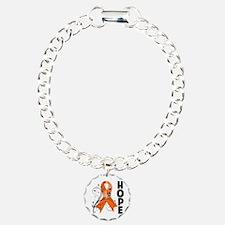 Hope Ribbon Multiple Sclerosis Charm Bracelet, One