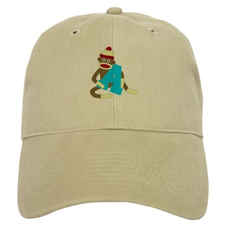 Sock Monkey Monogram Boy A Cap