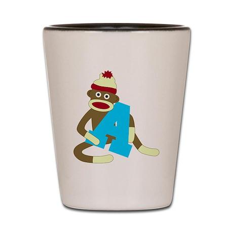 Sock Monkey Monogram Boy A Shot Glass